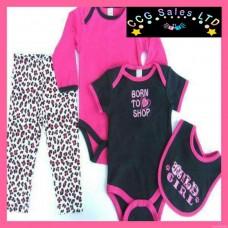 Baby Girls 'Born To Shop' 4 Piece Set