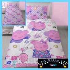 Official Peppa Pig 'Happy' Reversible Single Duvet Bedding Set