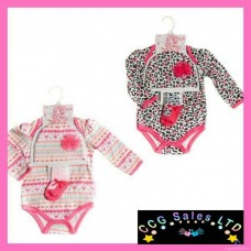Leopard/Hearts 3 Piece Layette Set