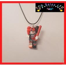 Handmade DC Comics 'Lego Batman Harley' Themed Mini Fig Toy Necklace